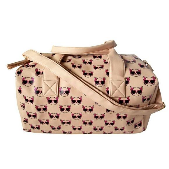OMG Accessories Handbags - OMG Accessories Cool Cat Glitter Duffel Bag